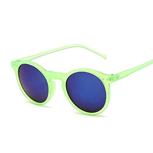 PPCLU Vintage Redondo Gafas de Sol Mujeres Retro Diseñador Gafas de Sol Masculino Marrón Gradiente Espejo Remache clásico Gato Ojo (Lenses Color : Green Blue)