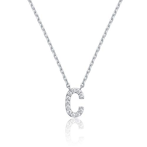 PAVOI 14K White Gold Plated Cubic Zirconia Initial Necklace   Letter Necklaces for Women   C Initial