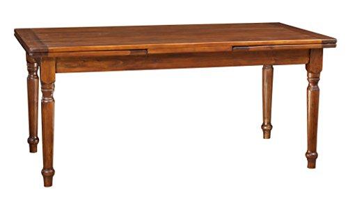 Kekse Ausziehtisch aus massivem Lindenholz – Landhausstil – Shabby Stil – Gestell und Tischplatte Nussbaum L 180 x T 90 x H 80 cm