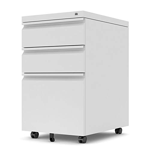 "Pemberly Row 15.7"" Wide 3 Drawer Metal Mobile File Cabinet with Lockable Drawers and Wheels in White, Letter/Legal Size"