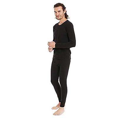 Men's Cotton Thermal Underwear Set Ultra Soft Midweight Long Johns Top & Bottoms Black