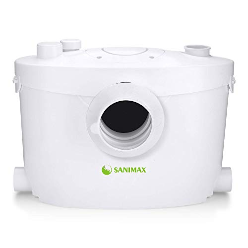 Sanimax SANI400+ Hebeanlage Haushaltspumpe Fäkalien Abwasserpumpe für WC 400W mit Kohlefilter und Abnehmbare Serviceplatte