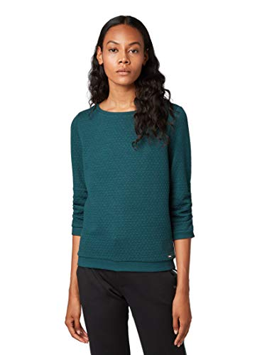 TOM TAILOR Denim Damen 1007905 Sweatshirt, Grün (Deep Green Lake 10834), XXL