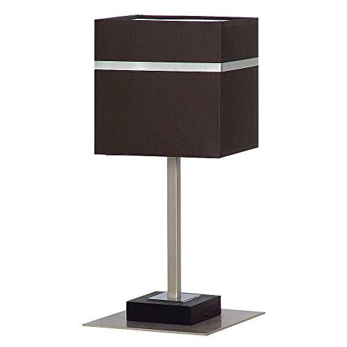Edle Tischleuchte in Dunkel Braun Bauhausstil 1x E27 bis zu 60 Watt 230V aus gewebten Stoff & Metall...