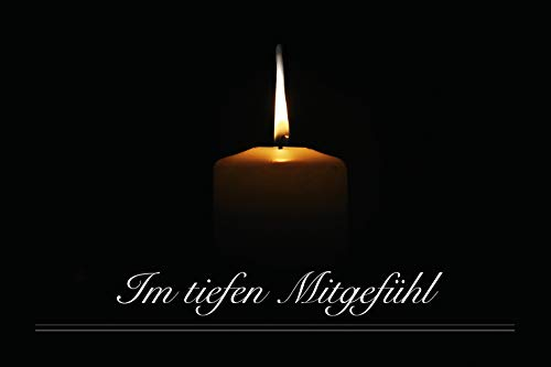Merz Designkarten 12 Stück einfühlsame Premium-Trauerkarten/Beileidskarten (edle Kerze) im Set mit 10 Umschläge - Anteilnahme Trauerkarte, Spruch