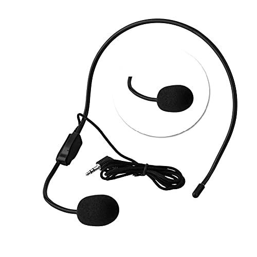 Tangxi Micrófono con Cable montado en la Cabeza 3.5mm Jack Condensador Mic para Amplificador de Voz Altavoz