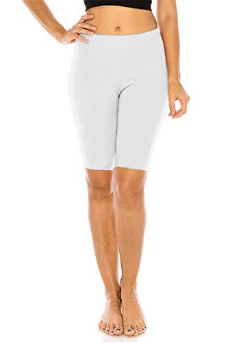 FUNGO Leggings Für Damen 1/2 Länge Capri Damen Sporthose Bunte Yoga Leggins F12 (Weiß, 38)