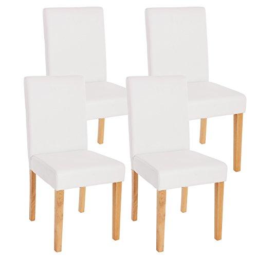 Mendler Lot de 4 chaises de séjour Littau, Simili-Cuir, Blanc Mat, Pieds clairs