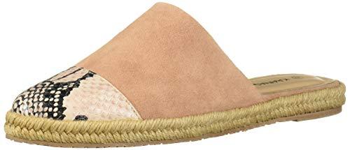 KAANAS Women's Melilla Snake Espadrille Mule Slide Flat Shoe, Rose, 8 Regular US