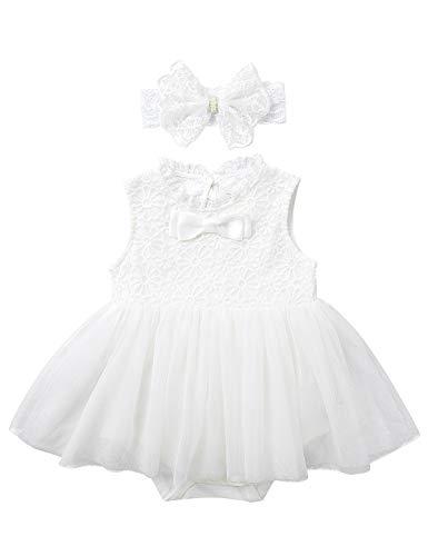 TiaoBug Baby Mädchen Prinzessin Kleid Langarm Spitzen Partykleid mit Mütze Festkleider Tüllrock Mini Tutu Hochzeits Blumenmädchenkleid Taufkleider Ivory Ärmellos 68-80