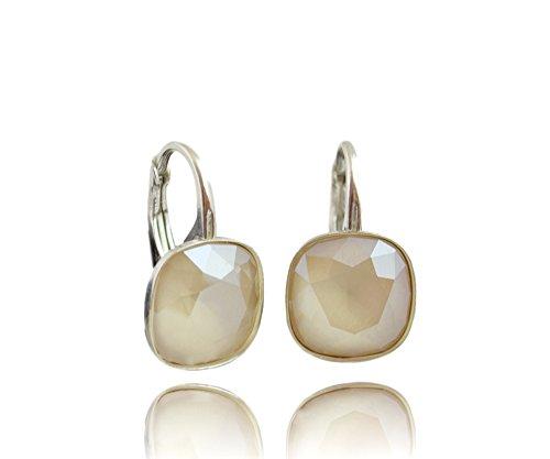 Crystals & Stones *Viele Farben* Silber 925 *SQUARE* - Ohrringe mit Kristallen von Swarovski® - Schön Ohrringe Damen Ohrhänger - Wunderbare Ohrringe mit Schmuckbox (Ivory Cream)