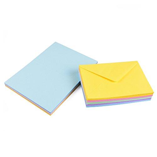 Sparset 50 x Faltkarten DIN B6 blanko farbig gemischt + 50 x Umschläge - 5