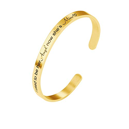 Daesar Damen Armreifen Uhr Edelstahl Breit 6 MM I Used to be her Angel Now She's Mine Armband Frauen Gold Freundschaftsarmband