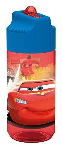 POS 24654088 - Trinkflasche mit Disney Pixar Cars Motiv, transparent mit Strohhalm zum hochklappen, BPA-frei, Fassungsvermögen ca. 430 ml, ideal für Schule, Sport und Freizeit