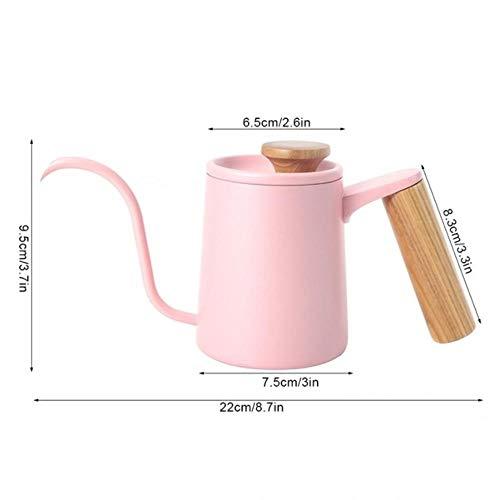 350 / 650ML roestvrij staal giet koffiepotten Koffiezetapparaat Karaffen Lange zwanenhals Uitloop Waterkoker Handdruppelketels Melkopschuimer, Roze 350ml