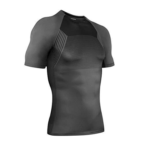 AMZSPORT Camiseta de Compresión Deportiva para Hombre Diseño de Malla Camiseta de Manga Corta Top para Correr Entrenamiento Gym - Gris L
