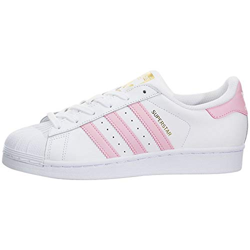 adidas Originals Boys' Superstars Running Shoe, White/Light Pink/Gold, 5.5 Medium US Little Kid