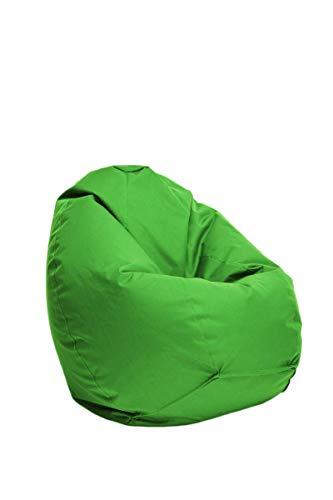 Bruni Sitzsack Classico M in Grün – Sitzsack mit Innensack zum Zocken & Lesen, Abnehmbarer Bezug, EPS-Perlen als Bean-Bag-Füllung, aus Deutschland