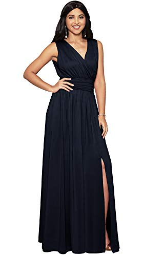 KOH KOH Womens Long Bridesmaid Wedding Guest Cocktail Party Sexy Sleeveless Summer V-Neck Evening Slit Day Full Floor Length Gown Gowns Maxi Dress Dresses  Dark Navy Blue M 8-10