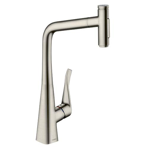 hansgrohe Metris Select Premium 1-Handle 18-inch Tall Stainless Steel Kitchen Faucet with Pull Down...
