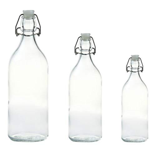 Cabilock 3 Stks Flip Top Glazen Fles Beugelsluiting Bierflessen Herbruikbare Drinkfles Met Luchtdichte Stop Dop Voor Dranken Olie Azijn Water Melk Soda L M S