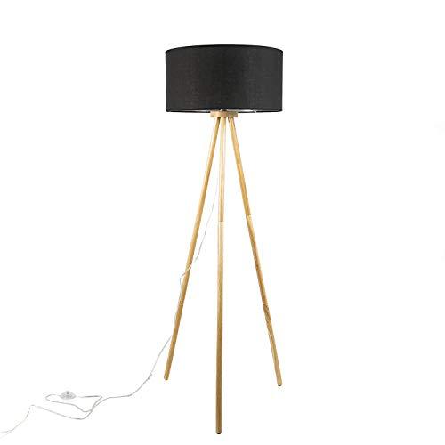 Lámpara de pie escandinava para salón, diámetro de 50 cm, madera y tela, trípode en color negro natural, E27, lámpara de pie desmontable