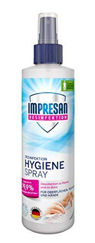 Impresan Hygiene-Spray: Desinfektionsspray für Oberflächen und Textilien - Desinfektions-Pumpspray - 1 x 250ml