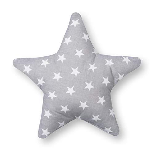 Amilian® Kissen Stern Zierkissen ca. 28 cm Kinderzimmer Deko Plüschkissen Sternkissen Baby Kinder Dekokissen mit Füllung für Schlafzimmer Babyzimmer Kinderbett Mädchen Jungen Sternchen Grau