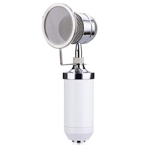 TJLSS Micrófono + Línea + Juegos de micrófono + Kit de Montaje de Choque de Metal Montaje de Choque para Reducir el Ruido de manejo (Color : White)