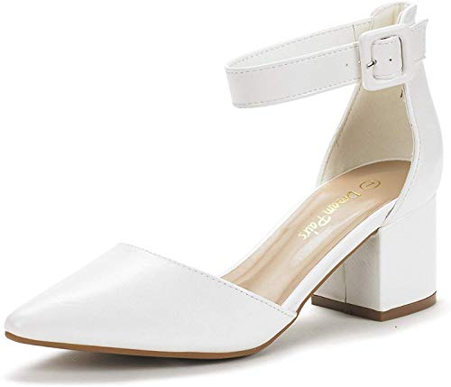DREAM PAIRS Women's Annee White Pu Low Heel Pump Shoes - 9.5 M US