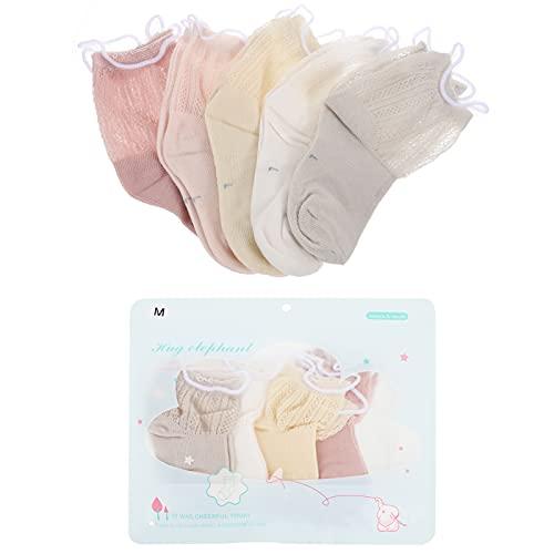 PRETYZOOM 5 Pares de Calcetines de Algodón de Malla para Niños Calcetines de Volantes para Niñas Calcetines de Verano para Niños Calcetines de Vestir para Niños Pequeños Calcetines de