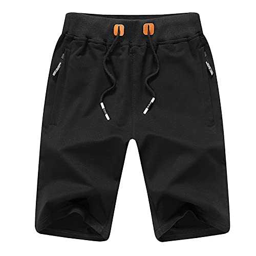 riou Pantalones Cortos Cargo Deportivos Cintura Bermudas Elástica Short con Cordón con Bolsillos para Hombre,Pantalón Corto Algodón Casual de Verano
