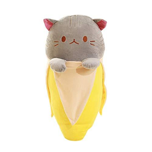 Banaan kat pluche kussen, schattige knuffel kussen pop kinderen verjaardagscadeau woondecoratie 30 cm grijs