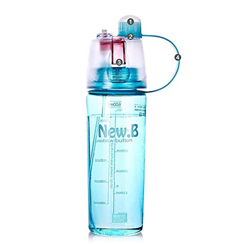 DWQ 600ml/20oz Blue Sports Water Bottle with Spray, Adult Bicycle Riding Water Bottle with Straw and Volume Scale (Color : Blue, Size : 600ml)