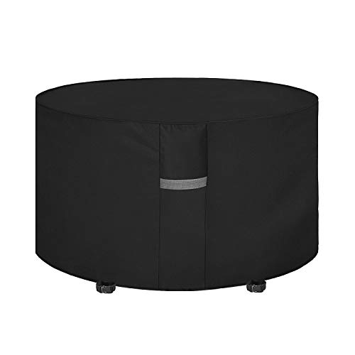 Dokon Garden Table Cover with Air Vent, Waterproof, Windproof, Anti-UV, Heavy Duty Rip Proof 600D Oxford Fabric Patio Set Cover, Garden Furniture Cover, Round (Ø128 x 71cm) - Black