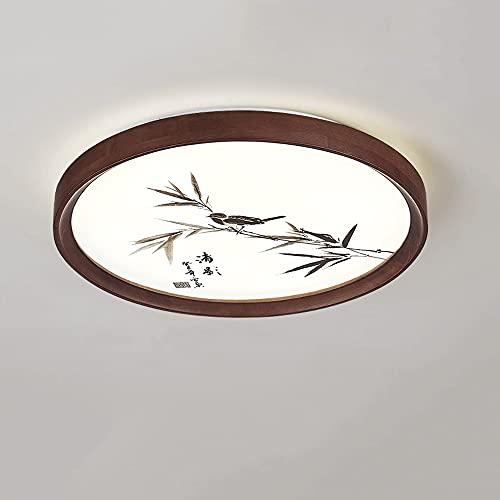 LXIANG Lámparas de techo redondas de madera, Lámparas de techo para dormitorio simples y ultrafinas, Lámparas LED de interior integradas, Iluminación china de madera maciza para sala de estar y balcón