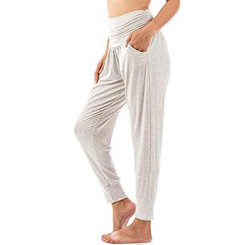 Lofbaz Pantalones de Yoga para Mujer Leggings de Entrenamiento Ropa de Mujer Pantalones Deportivos Ropa Harem Pijamas Melange Gris Claro 3XL