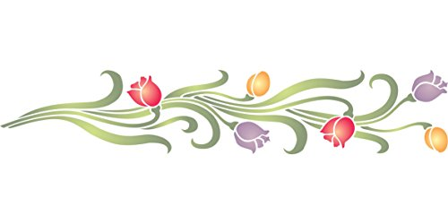 Tulip Stencil, 12 x 2.5 inch - Classic Wall Border Flower Stencils for Painting Template
