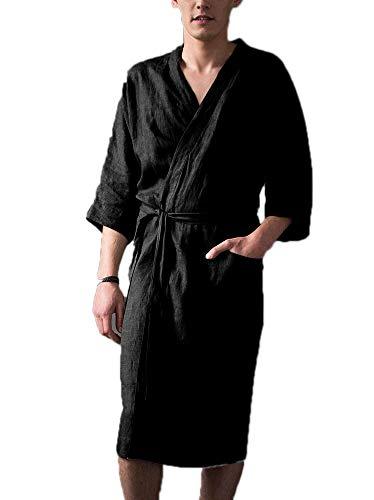 Badjas voor mannen en vrouwen, badjas van linnen, comfortabele lange pyjama, badjas van badjas