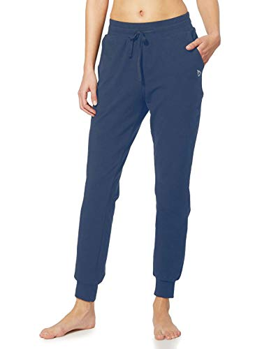 BALEAF Women's Cotton Sweatpants Lightweight Joggers Pants Tapered Active Yoga Lounge Casual Pants with Pockets Navy Blue Size XS