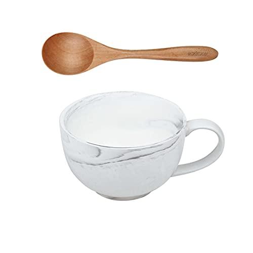 Unmbo Cerámica Taza De Café Cuenco Tazas De Sopa con Agarre, Grande Tazón De Sopa Cereales Taza De Desayuno con Cuchara Tazas De Café para Cereal Leche-Taza+Cuchara-480ml/16.2oz
