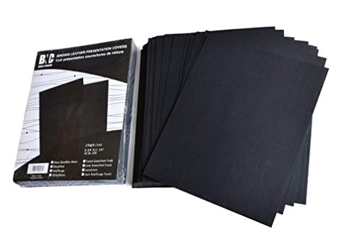 BNC Leather Texture Paper Binding Presentation Covers 8.75 Inches by 11.25 Inches, Pack of 100, Black Color