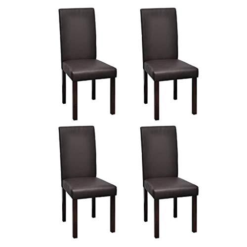 Zora Walter - Juego de 4 sillas de Comedor (100% PVC, con Respaldo para salón, Sala de conferencias, 95 x 43 x 40 cm), Color marrón