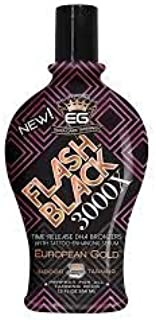 European Gold Flash Black 3000X Indoor Tanning Lotion with Time-Release DHA Bronzers, 12 oz