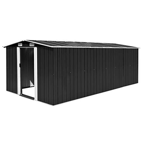 Tidyard Metall Geräteschuppen Gerätehaus 257×497×178 cm Grün/Grau/Anthrazit/Braun Optional, Schuppen Lagerschuppen Gartenhaus Outdoor