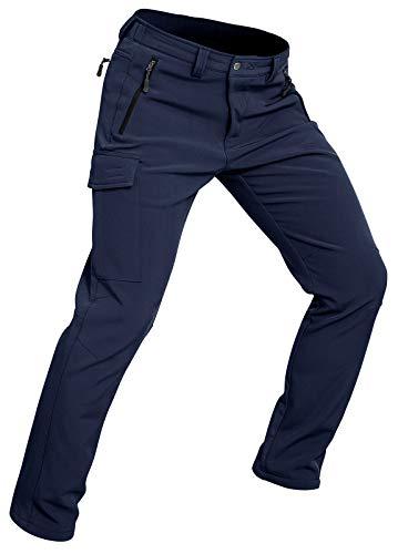 Wespornow Pantalones de senderismo para hombre [Softshell] Pantalones de nieve cálidos para senderismo, esquí y escalada [Armada - Extra Grande]