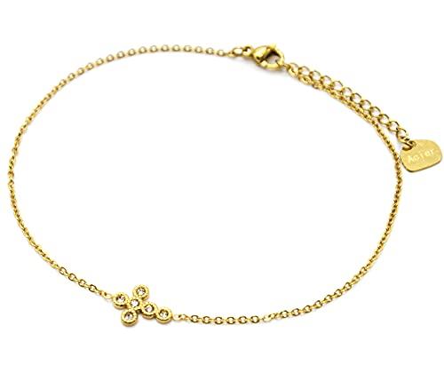 Oh My Shop CH103 - Cadena tobillera fina de acero dorado con cruz de estrás