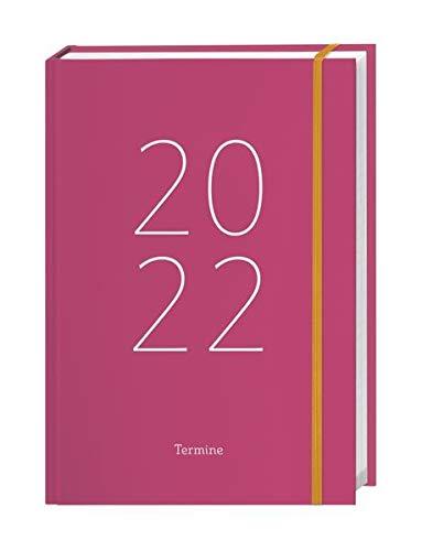 Tages-Kalenderbuch A6 2022, pink mit wattiertem Umschlag - Terminer - Taschenkalender - Organzier mit 360 Seiten, Verschlussgummiband, 2 Lesebändchen - 11,5 x 16,3 cm
