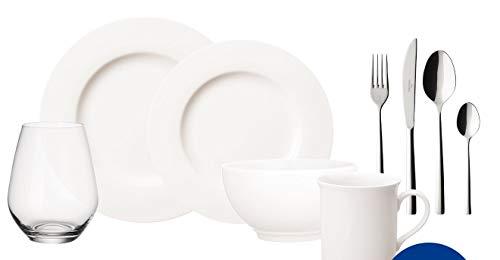 Villeroy und Boch - Twist White Geschirr-Set, 36 tlg., zeitloses Geschirrservice, Premium Porzellan, spülmaschinengeeignet