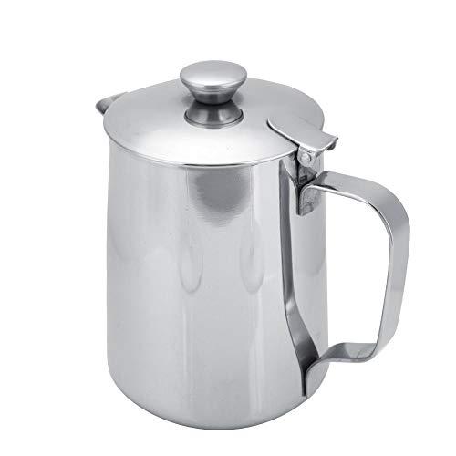 Tazza caffè acciaio inox latte Brocca con brocca e coperchio caffè Art cucina ufficio con manico(600ML-Argent)